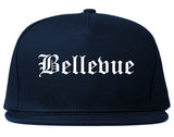 Bellevue Wisconsin WI Old English Mens Snapback Hat Navy Blue