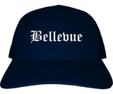 Bellevue Wisconsin WI Old English Mens Trucker Hat Cap Navy Blue