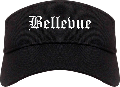 Bellevue Wisconsin WI Old English Mens Visor Cap Hat Black