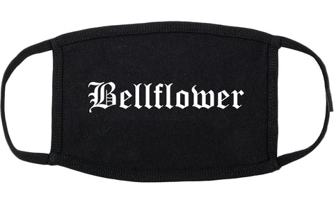 Bellflower California CA Old English Cotton Face Mask Black