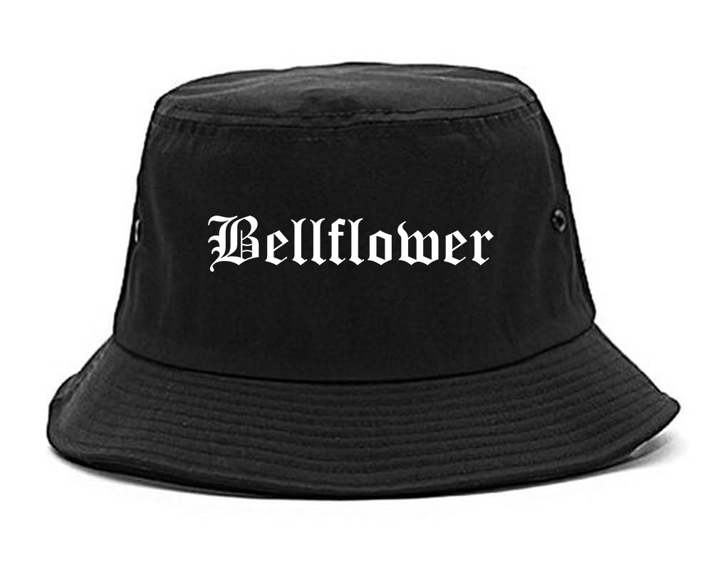 Bellflower California CA Old English Mens Bucket Hat Black