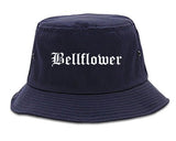 Bellflower California CA Old English Mens Bucket Hat Navy Blue