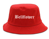 Bellflower California CA Old English Mens Bucket Hat Red