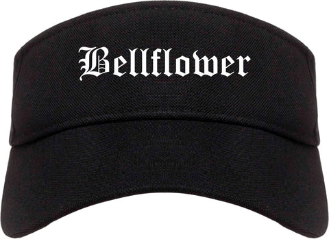 Bellflower California CA Old English Mens Visor Cap Hat Black