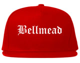 Bellmead Texas TX Old English Mens Snapback Hat Red