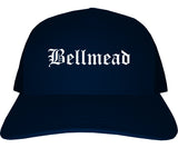 Bellmead Texas TX Old English Mens Trucker Hat Cap Navy Blue