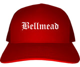 Bellmead Texas TX Old English Mens Trucker Hat Cap Red