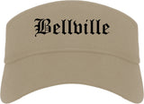 Bellville Texas TX Old English Mens Visor Cap Hat Khaki