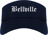 Bellville Texas TX Old English Mens Visor Cap Hat Navy Blue