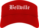 Bellville Texas TX Old English Mens Visor Cap Hat Red
