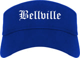 Bellville Texas TX Old English Mens Visor Cap Hat Royal Blue