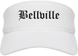 Bellville Texas TX Old English Mens Visor Cap Hat White