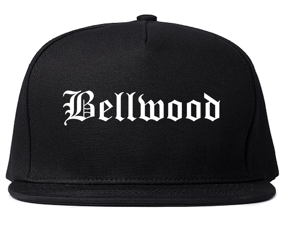 Bellwood Illinois IL Old English Mens Snapback Hat Black