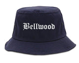 Bellwood Illinois IL Old English Mens Bucket Hat Navy Blue