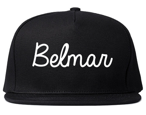 Belmar New Jersey NJ Script Mens Snapback Hat Black