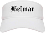 Belmar New Jersey NJ Old English Mens Visor Cap Hat White