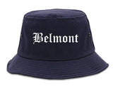 Belmont California CA Old English Mens Bucket Hat Navy Blue