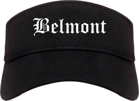 Belmont California CA Old English Mens Visor Cap Hat Black