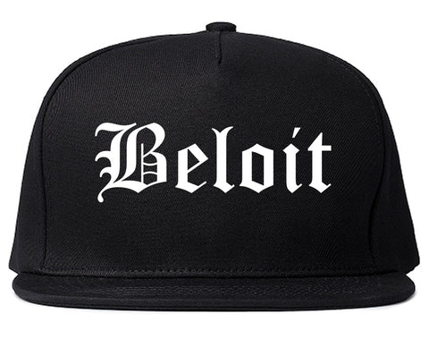 Beloit Wisconsin WI Old English Mens Snapback Hat Black