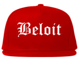 Beloit Wisconsin WI Old English Mens Snapback Hat Red