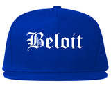 Beloit Wisconsin WI Old English Mens Snapback Hat Royal Blue