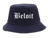 Beloit Wisconsin WI Old English Mens Bucket Hat Navy Blue