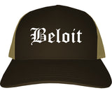 Beloit Wisconsin WI Old English Mens Trucker Hat Cap Brown
