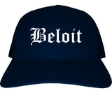 Beloit Wisconsin WI Old English Mens Trucker Hat Cap Navy Blue