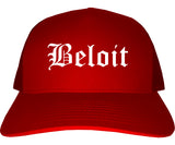 Beloit Wisconsin WI Old English Mens Trucker Hat Cap Red
