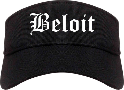 Beloit Wisconsin WI Old English Mens Visor Cap Hat Black