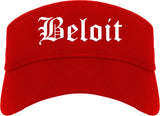 Beloit Wisconsin WI Old English Mens Visor Cap Hat Red