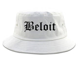 Beloit Wisconsin WI Old English Mens Bucket Hat White