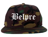 Belpre Ohio OH Old English Mens Snapback Hat Army Camo