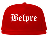 Belpre Ohio OH Old English Mens Snapback Hat Red