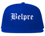 Belpre Ohio OH Old English Mens Snapback Hat Royal Blue