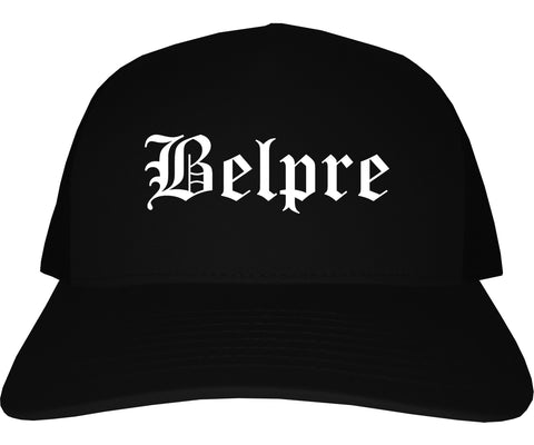 Belpre Ohio OH Old English Mens Trucker Hat Cap Black