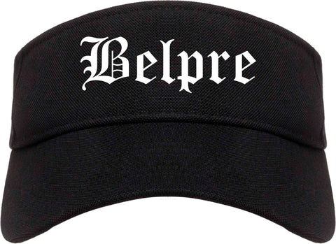 Belpre Ohio OH Old English Mens Visor Cap Hat Black
