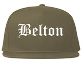 Belton Texas TX Old English Mens Snapback Hat Grey