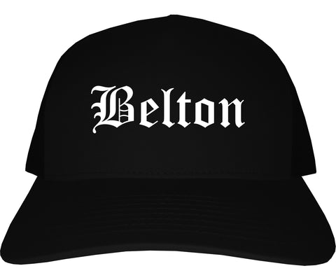 Belton Texas TX Old English Mens Trucker Hat Cap Black