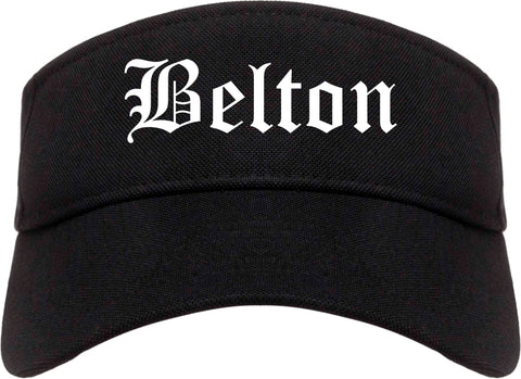 Belton Texas TX Old English Mens Visor Cap Hat Black