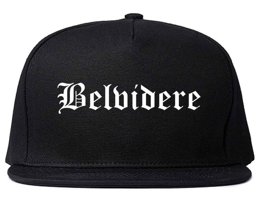 Belvidere Illinois IL Old English Mens Snapback Hat Black