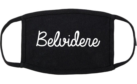 Belvidere Illinois IL Script Cotton Face Mask Black