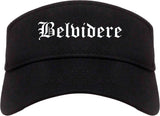 Belvidere Illinois IL Old English Mens Visor Cap Hat Black