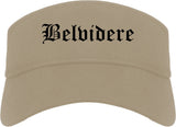 Belvidere Illinois IL Old English Mens Visor Cap Hat Khaki