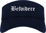 Belvidere Illinois IL Old English Mens Visor Cap Hat Navy Blue