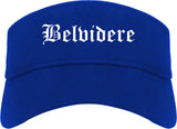 Belvidere Illinois IL Old English Mens Visor Cap Hat Royal Blue