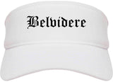 Belvidere Illinois IL Old English Mens Visor Cap Hat White