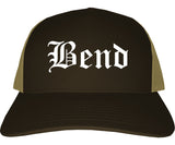 Bend Oregon OR Old English Mens Trucker Hat Cap Brown