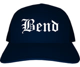 Bend Oregon OR Old English Mens Trucker Hat Cap Navy Blue