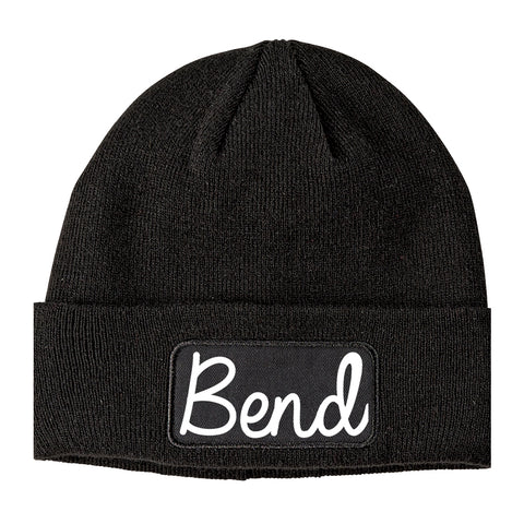 Bend Oregon OR Script Mens Knit Beanie Hat Cap Black